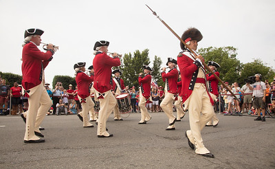 The United States Army Old Guard Fife and Drum Corps performs in front of the National Archives prior to the parade.