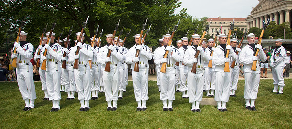 The U.S. Navy Ceremonial Guard forms up for the parade.