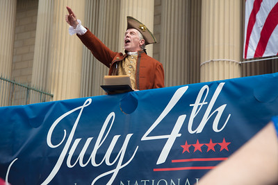 Dramatic reading of the Declaration of Independence by special guests including Abigail Adams, John Adams, John Dunlap, Benjamin Franklin, John Hancock (in photo), Ned Hector, Thomas Jefferson, & G Washington