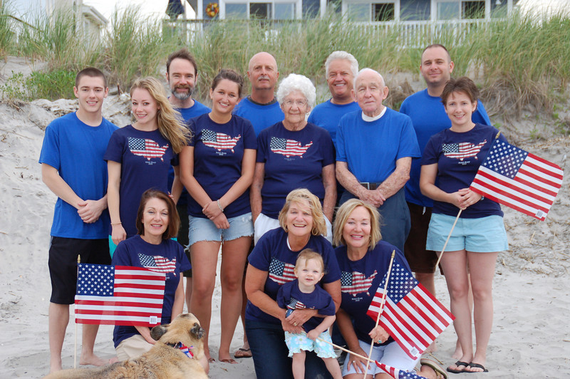 Front row: Dianne (Casey's Mom) with Nikki, Aunt Susan with Kadence and  Aunt Janice.<br /> 2nd row: Brett, Casey, Cousin Jamie, Mom Mom & Pop Pop Anderson and Melissa.<br /> Back: Joel (Casey's Dad) Uncle Jay, Uncle Jim and Cousin Chris.