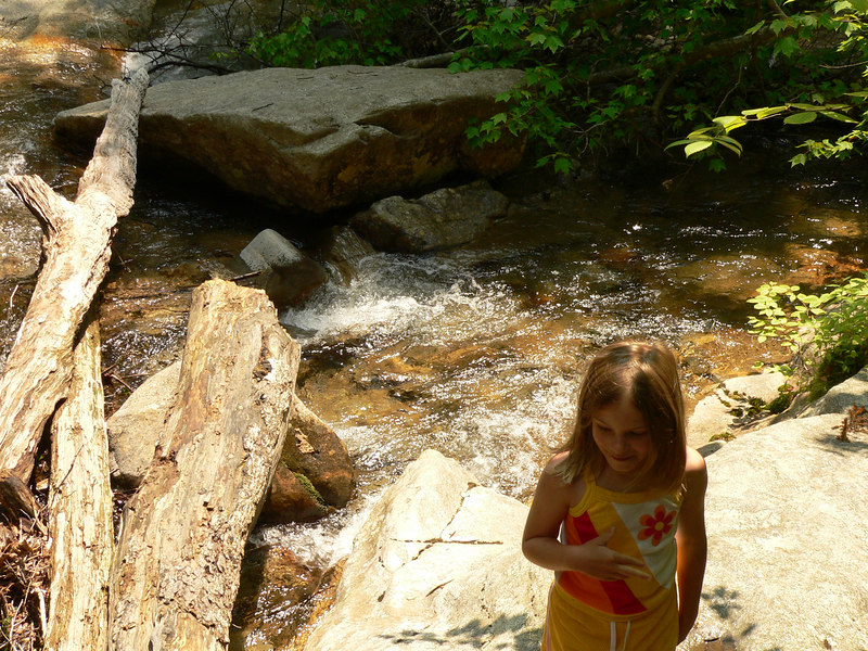 Enjoying the rushing water at the Basin
