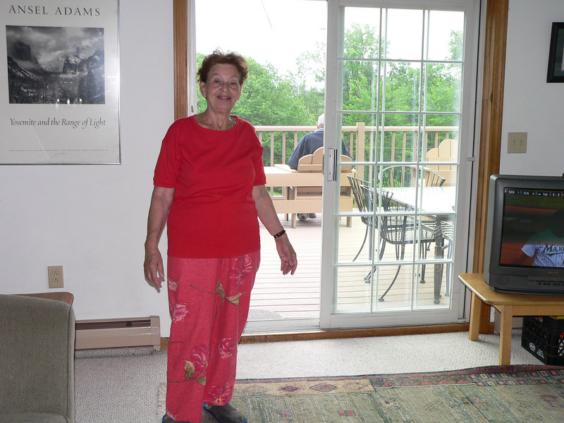 Vesna's mother models her new purchses from Garnet Hill