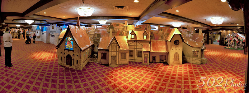 Panoramic of the Christmas Village©502Photos 2011 - KaLightoscope, Christmas at the Galt House, Louisville Kentucky.