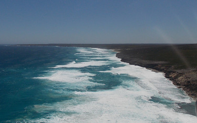 Looking along the coastline towards Cape Bedout at the top of the photograph
