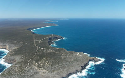 Looking along the southern coast from Cape du Couedic with Cape Bouguer at Kelly Reserve on the horizon