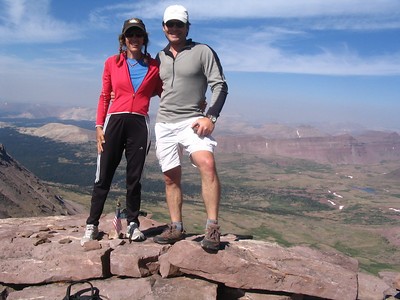 Jana and I on the summit of King's Peak with the West Face behind us, far above the top of the Yellowstone drainage.