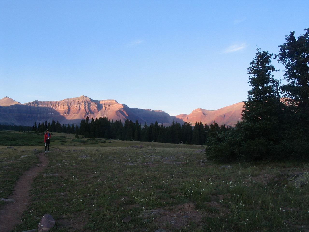 The Henry's Fork trail crossing the meadow section below Dollar Lake, about 7 miles in.  King's Peak is the pyramid shaped peak on the far left side of the image.