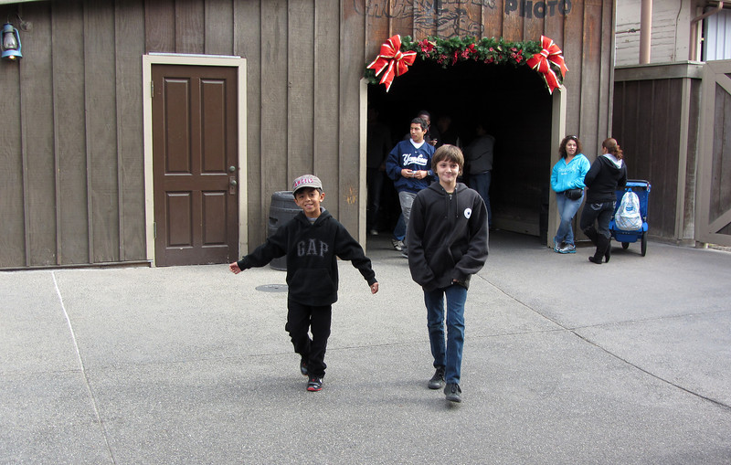 Xander & Cole exiting their first ride of the day, GhostRider.