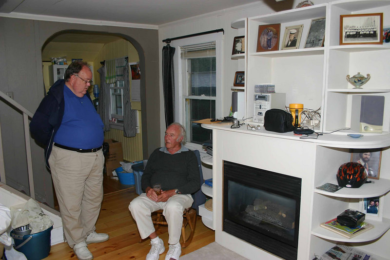 Jeff's brother-in-law, Dave Hill, and his father, Joe Cowdrey.  We had a power outage during the party (the remnants of Hurricane Ernesto), but their gas fireplace still worked.  Unfortunately, I did not get a photo of Joanne Hill (nee Cowdrey).