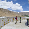 The line in the snow on the top of the mountain range in the distance is the highest motorable road in the world- the Khardung La.