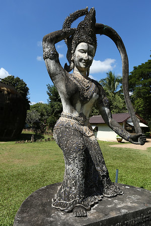 There are over 200 Hindu and Buddhist statues.
