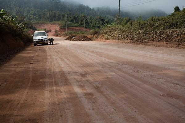 Some roads were being prepared for asphalt.
