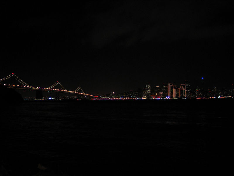 Bay Bridge and City on New Year's Eve.