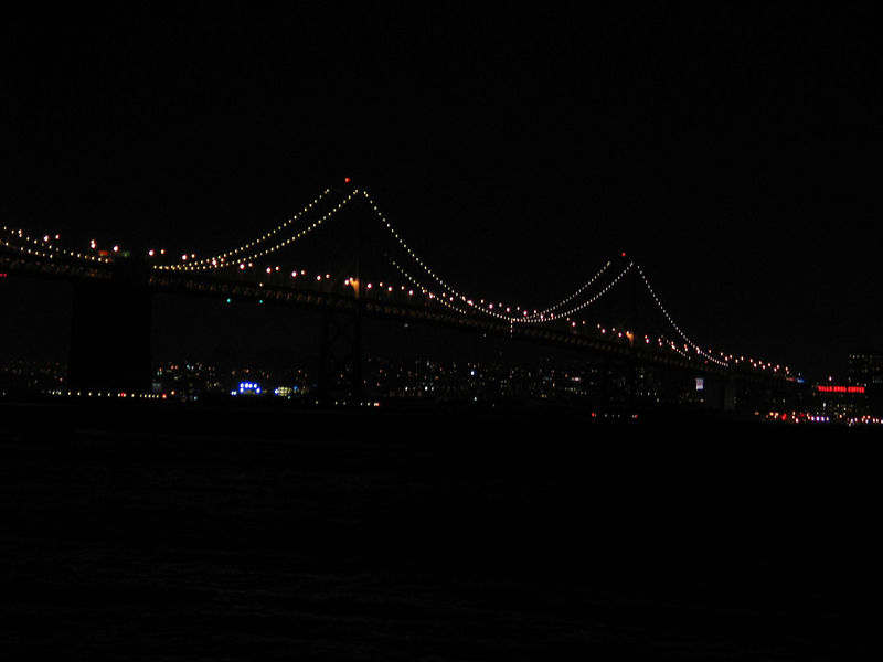 Western span of Bay Bridge on a clear New Year's Eve.