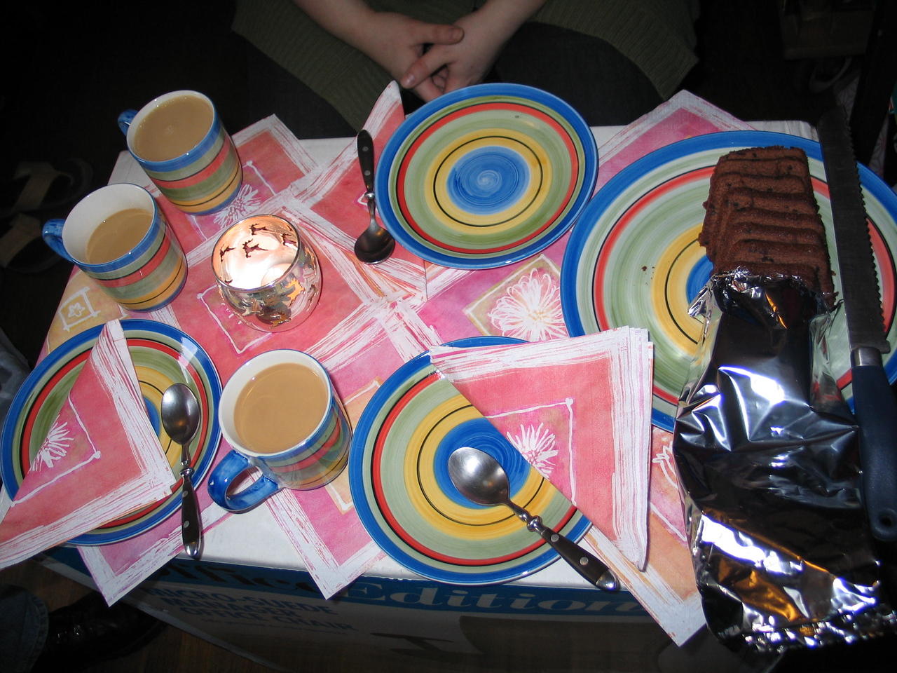 Coffee and cake time at Sandra's place on makeshift table for 3.