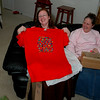 """Annette's gag gift -- a huge T-shirt decorated with the """"Texas"""" alphabet."""