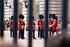 Changing of the guard at Buckingham Palace, London, England.