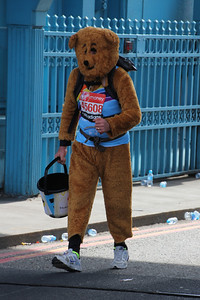 Collecting bear crossing Tower Bridge on London Marathon. 21 April 2013 (at 13:55)