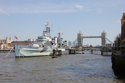HMS Belfast and Tower Bridge. 21 April 2013