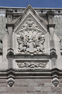 Stonework detail at north end of Tower Bridge. 21 April 2013