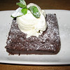 Chocolate brownie and vanilla ice cream from All Bar One