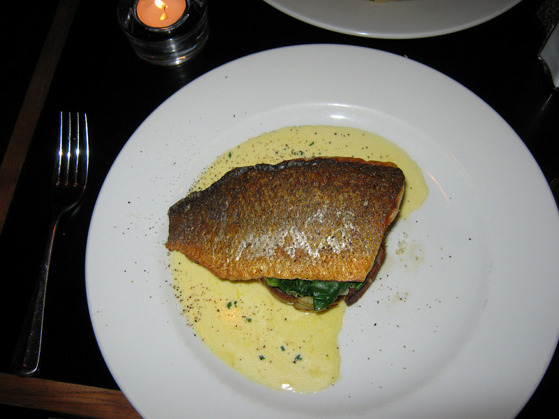 Balans restaurant, Kensington High Street - Sea bass with crushed new potatoes, spinach and a chive & butter sauce