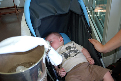 William getting his bottle cooled in style in a silver wine cooler!