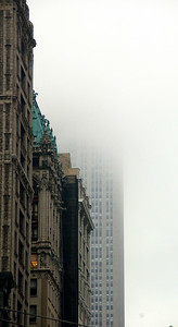 The Empire State Building disappearing in to the mist