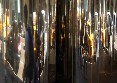 Reflections in the mirrored doors at the Grand Hyatt