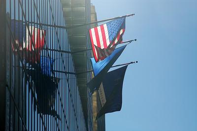 Flags outside the Grand Hyatt