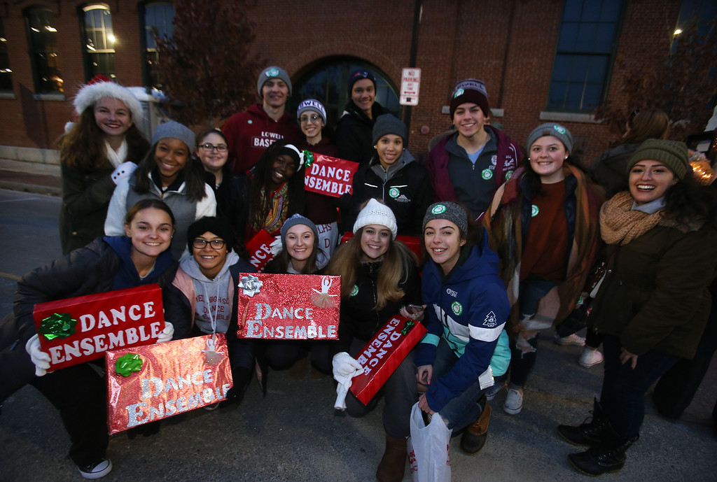 . Lowell City of Lights parade. Lowell High Dance Ensemble waiting to start parade. (SUN/Julia Malakie)