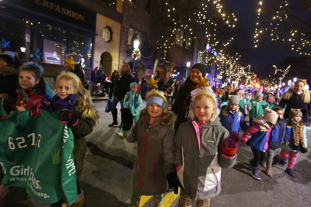 . Lowell City of Lights parade. Girl Scout Troop 62712. (SUN/Julia Malakie)