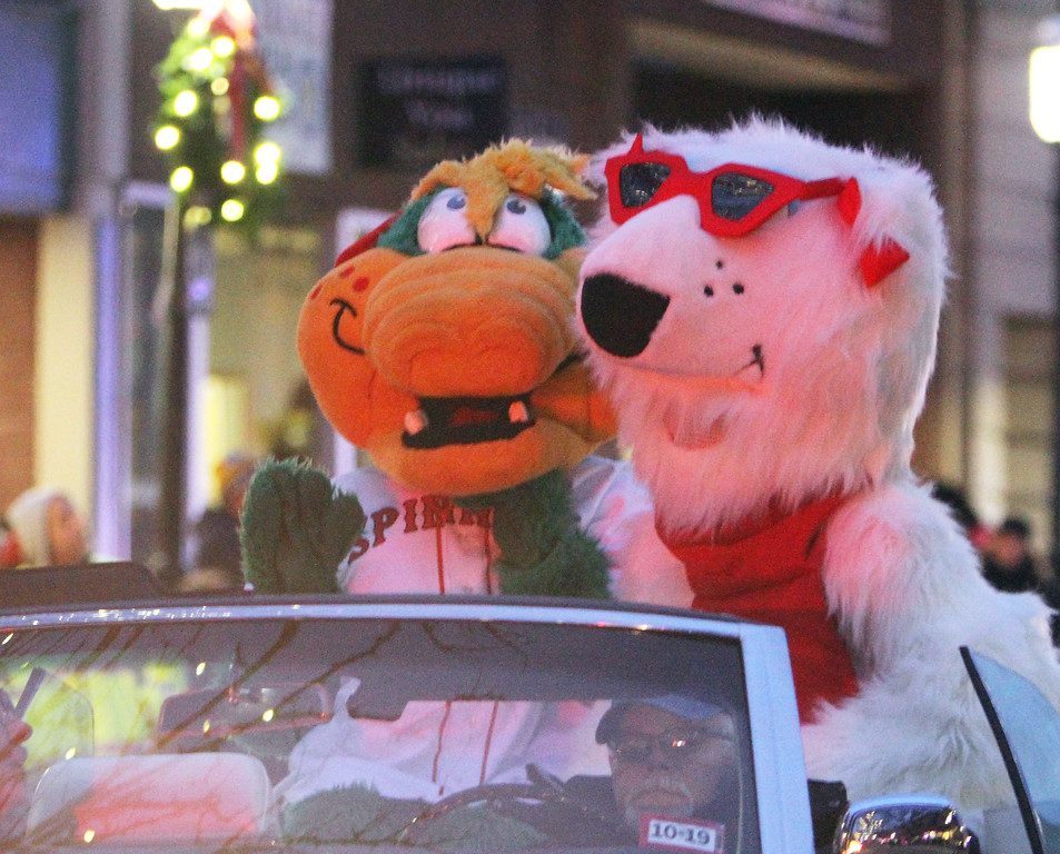 . Canaligator and Lowla in Lowell City of Lights parade. (SUN/Julia Malakie)