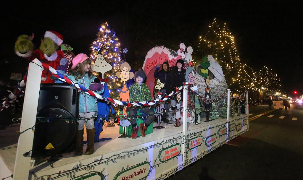 . Greater Lowell Tech\'s award-winning float, in Lowell City of Lights parade. (SUN/Julia Malakie)