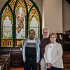 Bob Lyle, Dan Mylott and Marilyn Benoit are assisting in the rededication ceremony that will be held on Saturday, November 4, 2017 at 11:00 a.m. for the Lucy Ann Crocker stained glass window at New Patriots Christian Congregation. SENTINEL & ENTERPRISE / Ashley Green