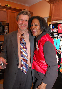 Steve Drake and Juanita Hardy enjoy a laugh