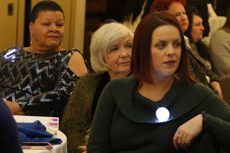 Living the Dream Partners hold 2020 Martin Luther King Jr. Celebration. From left, Robin Brown of Lowell (wife of award recipient Sally Thayer), Ann Marie Page of Lowell and Heather Donovan of Townsend.  (SUN/Julia Malakie)