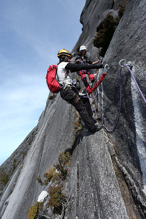 There are 3 safety systems: 2 cords and a rope going between the team members.