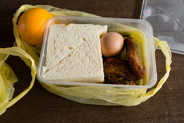 Packed lunch prepared by the company who made the arrangements for you.