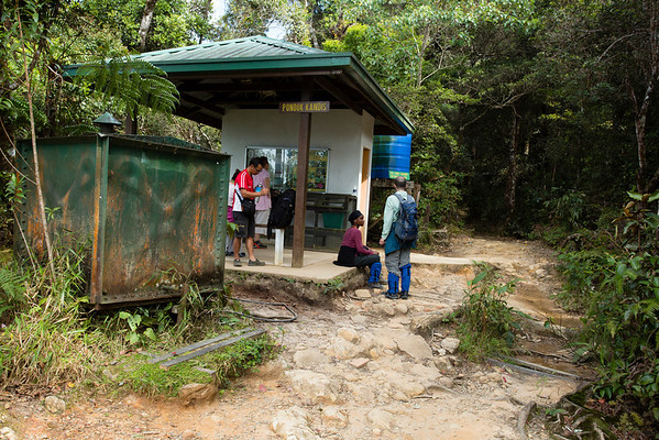 There are shelters at various distances but not further than 1 Km from each other. You can get water and access to toilets.