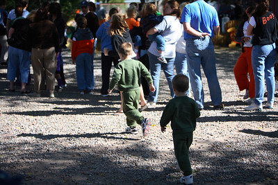 Running to the pumpkins.