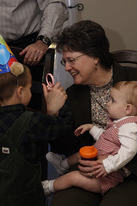 William with Gramma and Elijah.  He didn't feel like opening his presents. :-(