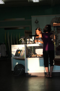 Becky behind the counter