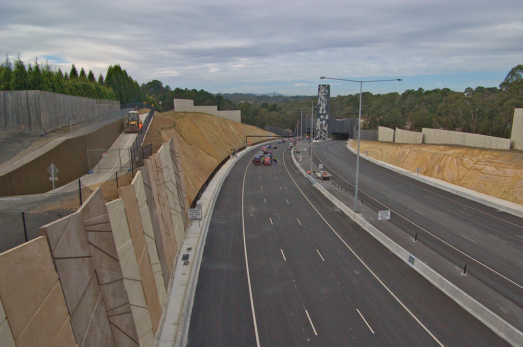 20080628_1604 Eastlink, official opening day (the day before it was open to traffic). Looking east from Park Road bridge to Mullum Mullum (outbound) and Melba (inbound) tunnels.