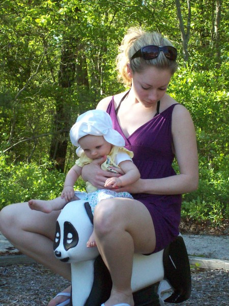 "Contributed by Melissa: ""Casey taking Kadence for a ""ride"" on the Panda!"""
