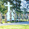 Diane Raver | The Herald-Tribune<br /> Prell-Bland American Legion Post 271 members  presented a salute to the dead at Holy Family Catholic Cemetery and five others Monday morning, May 30. Batesville Veterans of Foreign Wars Post 3183 and Indiana Patriot Guard Southeast Region Riders also participated in the Memorial Day services.