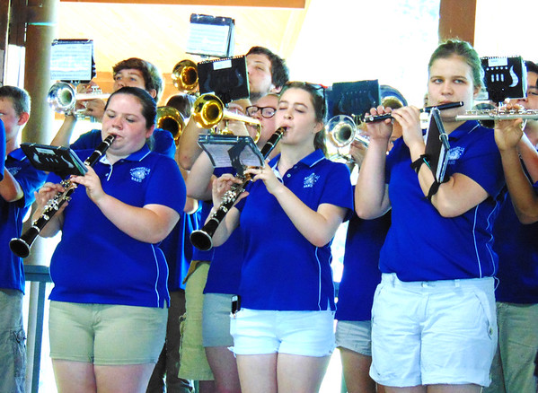 Debbie Blank | The Herald-Tribune<br /> Batesville High School band musicians played several patriotic tunes onstage in the Liberty Park Pavilion.