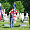 Debbie Blank | The Herald-Tribune<br /> Indiana Patriot Guard Southeast Indiana Region members held flags and saluted during the ceremony at St. John's United Church of Christ, Huntersville, Cemetery.