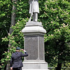 Memorial Day ceremonies in Shirley, here Carl McKoon from American Legion Post #183, Shirley, salutes the Civil War Memorial after laying flowers at the statue.  SUN/ David H. Brow
