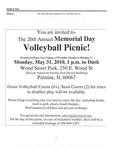 The 20th Annual Memorial Day Volleyball Picnic!